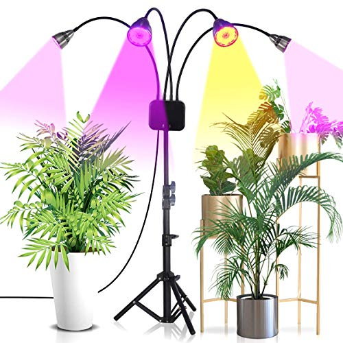 LED Grow Light with Stand,Super Bright Sunlike Full Spectrum Four-Head Floor Lamp Plant Light for Indoor Plants,Timing 3/9/12H,Tripod Adjustable 15-60 inch