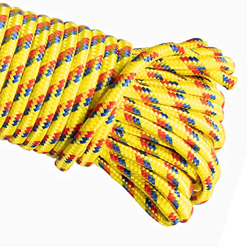 MetaKit 100 ft. Diamond Braided Polypropylene Rope 1/4 Inch High Strength Utility Rope for Clothesline Flag Pole Indoor Outdoor Use (Yellow)