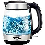 NETTA Electric Glass Kettle - 1.7L Capacity - Fast Boil - Blue LED Illumination - Swivel Base with F...