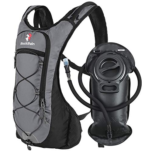 ROCKRAIN Windrunner Lightweight Hydration Pack with 2L BPA Free Water Bladder  Keeps Liquid Cool up to 4 Hours Outdoor Sports Gear for Running Cycling Hiking Biking Camping Grey