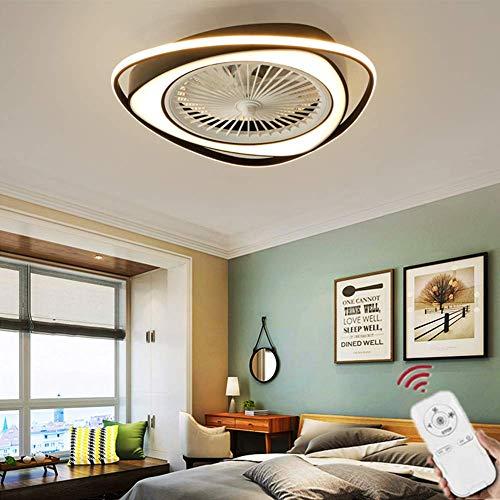 Fan Ceiling Light Luz del Ventilador De Techo De Sala De Estar Control Remoto Invisible Ventilador De Techo Dormitorio Lámpara De Atenuación Silenciosa,Round