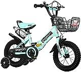 DFBGL Bicicleta para niños, Bicicleta para niños de 12 a 14 Pulgadas, de 2 a 5 años, Bicicleta para niños con Ruedas de Entrenamiento, Frenos de Mano y Canasta para niñas y niños, Color