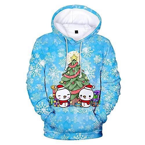 BGUK Sudadera con capucha para hombre, diseño de Navidad, divertida, unisex, manga larga, con impresión 3D, par de sudaderas cálidas, azul celeste, L