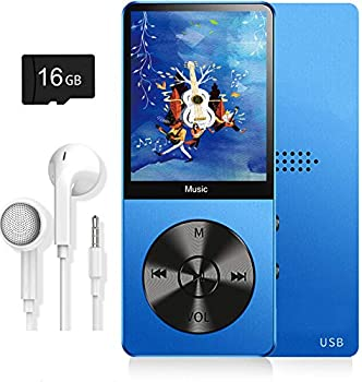 MP3 Player Music Player with 16GB Micro SD Card Ultra Slim Music Player with Build-in Speaker Photo Viewer Video Play FM Radio Voice Recorder E-Book Reader Supports up to 128GB