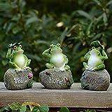 æ— 3 x Frosch-Gartenstatuen, kreative Frosch-Figuren, niedliche Frösche, sitzend auf Stein, Willkommens-Skulpturen für Terrasse, Hof, Gartendekoration