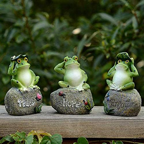 JYCRA Frog Garden Statues,3 Pack Creative Green Frog Sitting on Stone Sculptures Fairy Garden Ornaments Indoor Outdoor Decor
