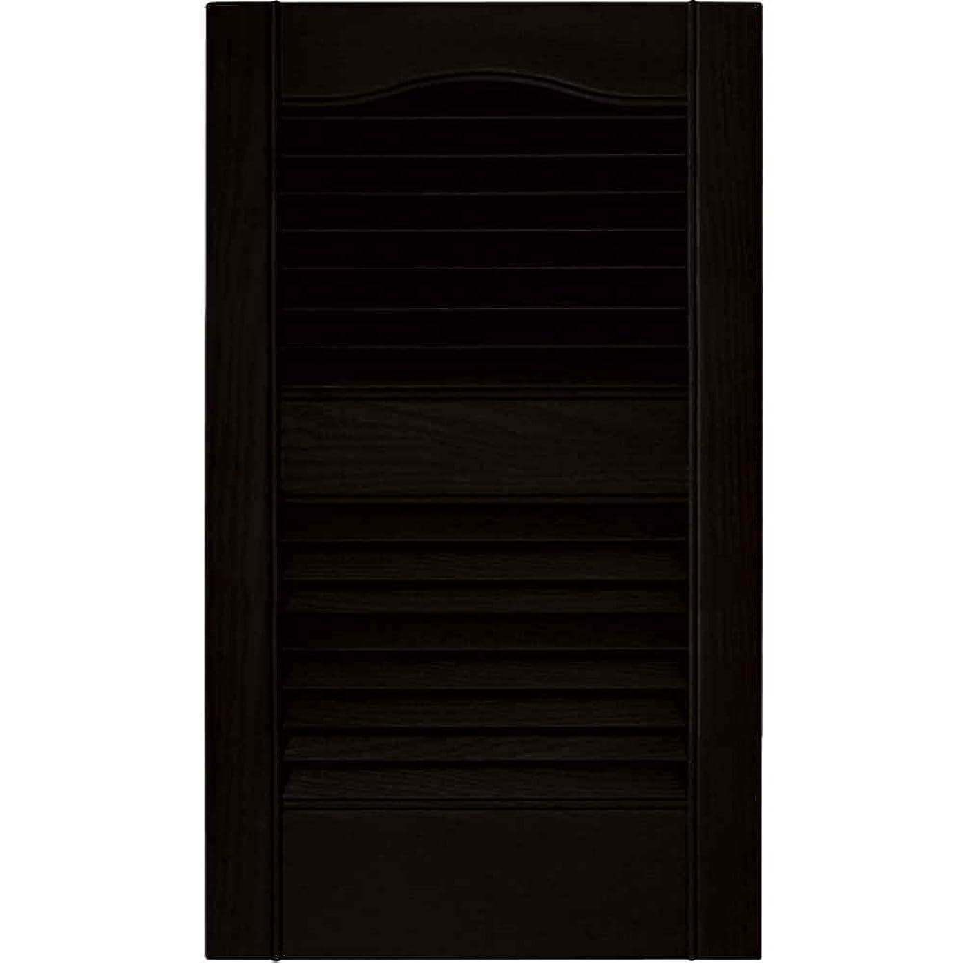 PCI Enterprises 12 in. Vinyl Louvered Shutters in Black - Set of 2 (12 in. W x 1 in. D x 52 in. H (4.76 lbs.))