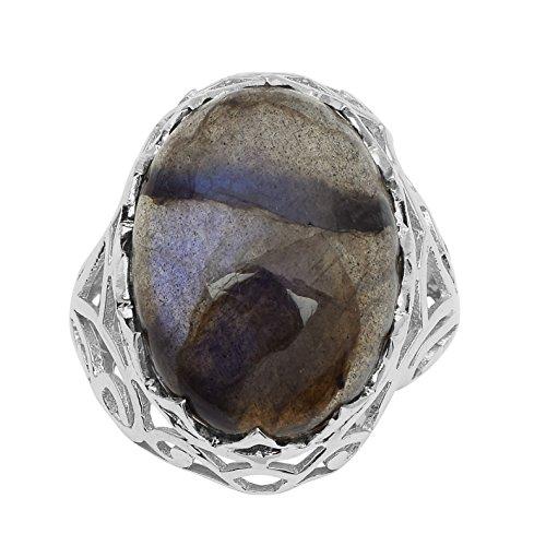 Shine Jewel Anillo de plata esterlina 925 con piedras preciosas de labradorita brillante genuino para mujer L Redondo labradorita