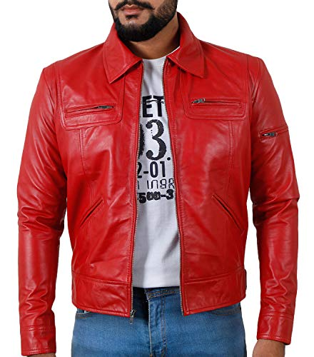 Laverapelle Men's Genuine Lambskin Leather Jacket (Red, Small, Polyester Lining)- 1501200