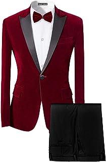 8356d45739b MAGE MALE Men s Tuxedo Suit Slim Fit 2-Piece Velvet Blazer Party One Button  Stylish