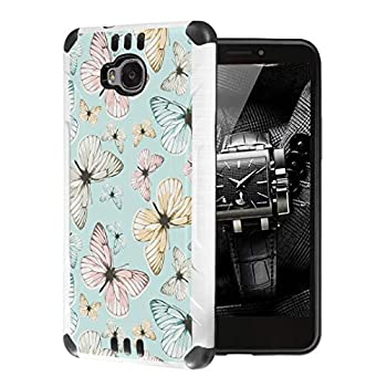 Moriko Case Compatible with Huawei Ascend XT [Cute Premium Dual Layer Hybrid Shockproof Slim Heavy Duty Men Women Girly Design White Black Case Phone Cover] for H1611  Beautiful Butterfly Teal
