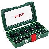 Bosch Set da 15 Pezzi di frese in metallo duro, per legno, codolo da 1/4 pollice, accessorio per fresatrice verticale