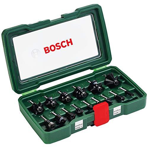Bosch 15tlg. Hartmetall Fräser Set (für Holz, 1/4 Zoll Schaft, Zubehör Oberfräse)