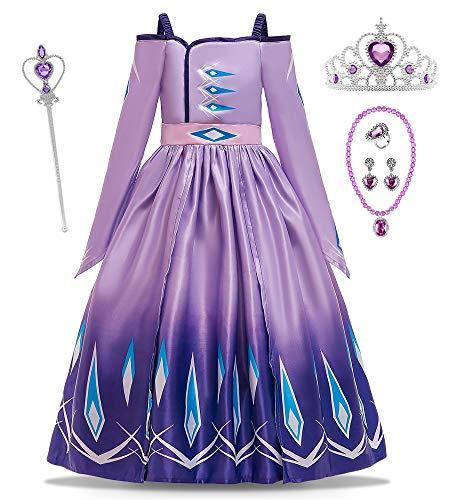 O.AMBW Disfraz de Princesa Azul Celebración Vestido Violeta Reina Anna Cuello Abierto Manga Larga Cosplay Carnaval Disfraz de Halloween con Accesorios para niñas