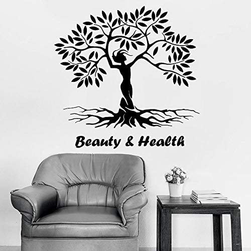 Etiqueta de la pared de la belleza y la salud creativo naturaleza niña árbol eco vinilo etiqueta de la ventana salón de yoga sala de meditación decoración interior