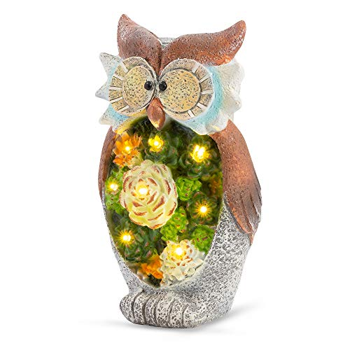 GloBrite Garden Ornament Owl Figurine, Solar Powered Outdoor Lights, Waterproof Resin Garden Statue for Yard Lawn Decoration Gift