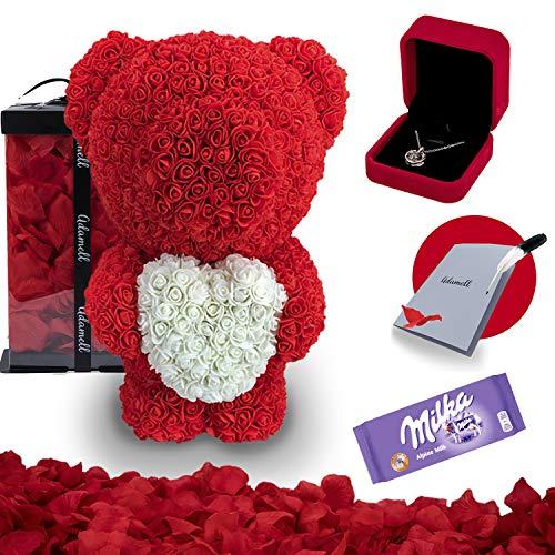 Rosen Teddybär 60cm mit geschenkbox, einzigartiges geschenk für frauen, freundin, kinder - Exklusiver Rosenbär zum Muttertag, Geburstag & Jahrestag - Blumen Teddy Bär voller rosenblätter (5 in 1) Rot