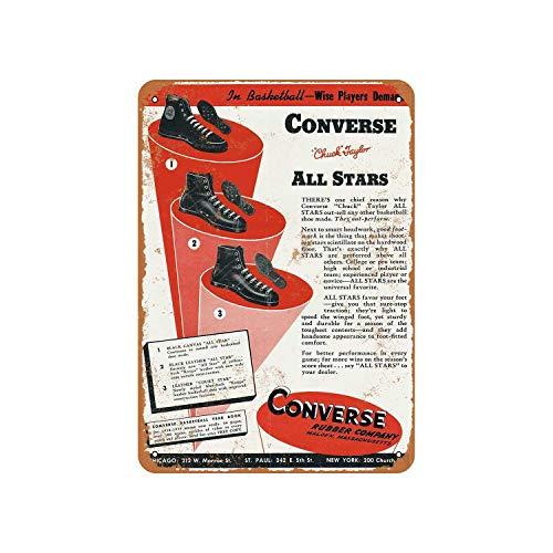 43LenaJon Letrero de metal rústico con diseño de zapatos de tenis de aspecto vintage para decoración de casa de granja, regalo de inauguración de la casa