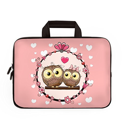 HAPPYLIVE SHOPPING 11 11.6 12 Inch Multi-Color Water-Resistant Laptop Sleeve Bag with Handle/Notebook Computer Case/Ultrabook Briefcase Carrying Bag (Nice Pink Owls)