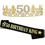 50TH Birthday Crown and Birthday King sash, 50TH Birthday Gifts for Men,Birthday Gift Idea for Him, Husband, Father, Brother Friends Party Favors.50TH Birthday Decorations
