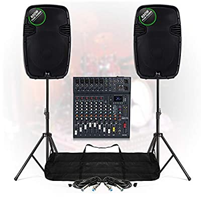 Medium PA Speaker System 10 Ch Bluetooth DJ Mixer 1600W Stage Sound with Stands