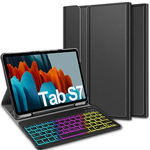 ELTD Keyboard Case for Samsung Galaxy Tab S7 (QWERTY Layout), Case with 7 Colors Backlit Control Removable Magnetic Wireless Keyboard for Samsung Galaxy Tab S7 11 Inch 2020, Coal
