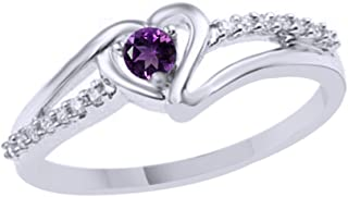 Simulated Amethyst & White Natural Diamond Accent Heart Promise Ring in 925 Sterling Silver