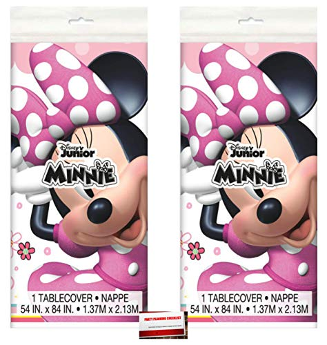 (2 Pack) Disney Pink Minnie Mouse Plastic Table Cover 54 x 84 Inches (Plus Party Planning Checklist by Mikes Super Store)