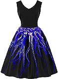 MXN Plus Size Woman Dress Vintage 3D Printing Midi Dresses Big Size V-Neck Sleeveless Vestido De Festa Retro Sundresses Chic Clothes M1615SA-L Sapphire
