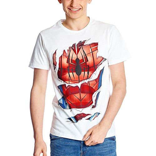 Spider-Man - T-Shirt uomo costume Marvel cotone bianco - M