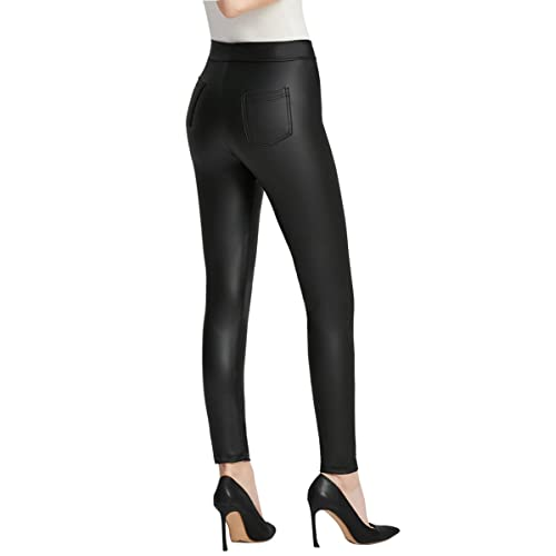 Everbellus Black Faux Leather Leggings with Pockets for Women Skinny Leather  Pants 62a53128f