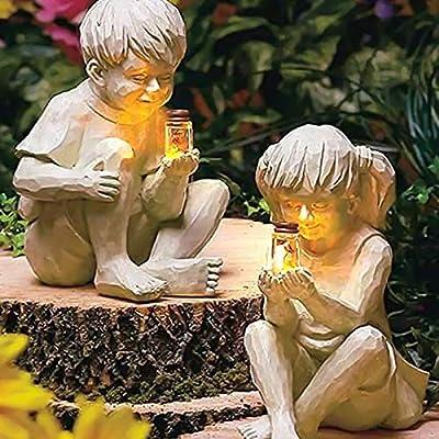 Garden Children Sculptures, Luminous Lighted Firefly Jar Light Boy Girl Creative Statue, Garden Figurines for Lawn Patio Yard Decor