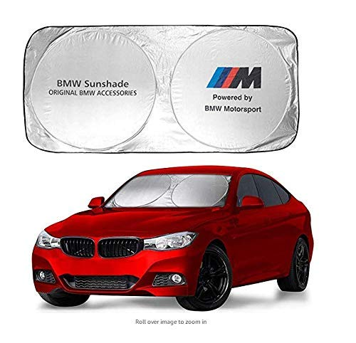 Car Windshield Sunshade fit for BMW M Line - 150X70cm Foldable Sunshade for BMW 1 3 5 7 Series and X1 Series Windshield, Blocks UV Rays, to Keep Your Vehicle Cool Damage Free