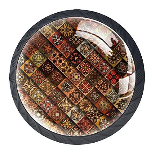 Rombo marrón, manija de la puerta del armario de la impresión minimalista moderna del gabinete, manija de la puerta del armario de cuatro piezas traje