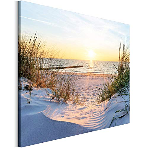 Revolio - Bilder - Leinwandbild - Wandbilder - Kunstdruck - Design - Leinwandbilder auf Keilrahmen 1 Teilig - Wanddekoration - Größe: 40x30 cm - Dünen Strand Meer gelb
