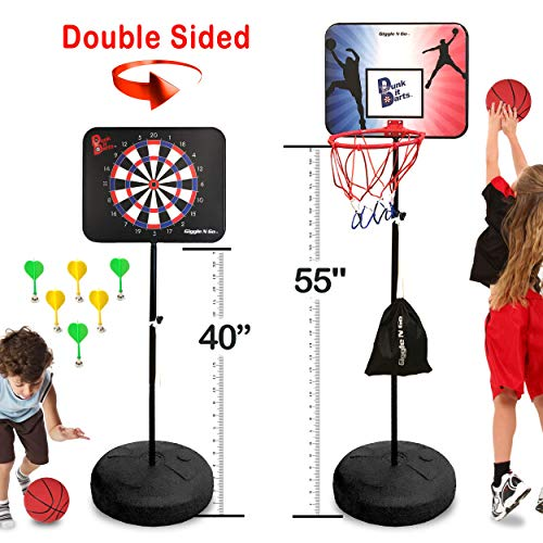 GIGGLE N GO Magnetic Dart Board and Basketball Game - 2 Fun Kids Games in 1. So Easy to Adjust The Height, Your Kids Will Literally Grow up with it. A Fun Safe Addition to Any Indoor Games Room