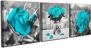 Black White Blue Rose Flowers Wall Art Bedroom Simple Life 12
