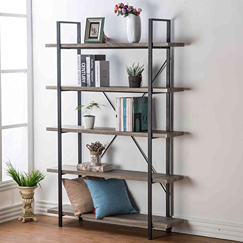 HSH 5-Shelf Vintage Industrial Rustic Bookshelf, Wood and Metal Bookcase, Open Etagere Book Shelf, Gray Oak