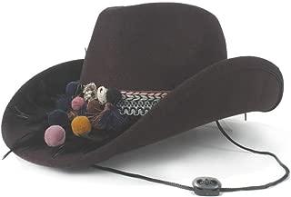 AU-KANGSHUAI Fedora Hat Wide Brim Hat Outdoor Casual Hat Men Women Wool Western Cowboy Hat Size 56-58CM