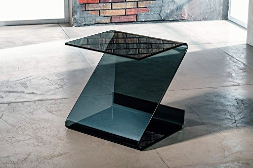 IMAGO FACTORY Roy - Tavolino servetto - Tavolo Lampada in Vetro fumè curvato