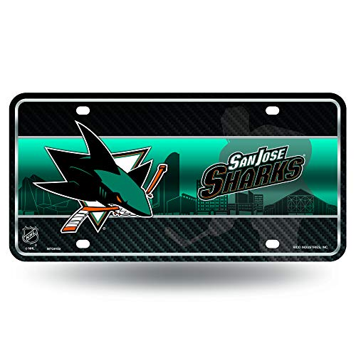 NHL Rico Industries  Metal License Plate Tag, San Jose Sharks