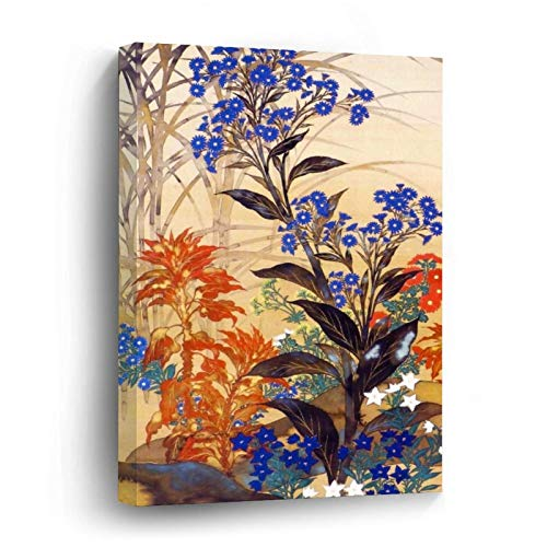 Oriental Watercolour Vibrant Vintage Flowers Canvas Picture Painting Artwork Wall Art Poto Framed Canvas Prints for Bedroom Living Room Home Decoration, Ready to Hanging 8'x8'