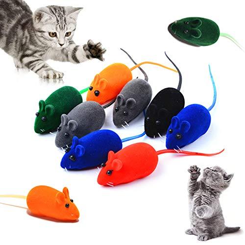 Sonido de Ratón de Juguete para Gatos Juguetes para Gatos Interactivos Adultos Juguete Suave para Mascotas Masticar Gato Gatito para Gatos Juguete de Ratón de Peluche de Gato Divertido 10 Piez