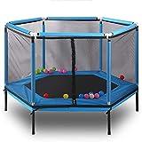 Shining Mini Trampoline, Outdoor Enfants Trampoline avec Filet de Protection, Piscine intérieure Petit Trampoline, réglable, Pliable Trampoline, Peut résister à 100 kg,Bleu