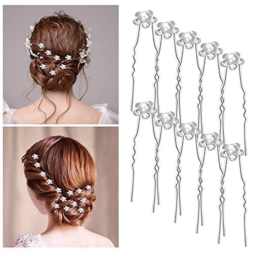 VidFair Hochzeit Haarschmuck 20 Stück Hochzeit Haarnadeln Braut Haarschmuck U-förmig Haarnadeln Perlen und Blumen Kommunion Kopfschmuck für Brautfrisur, Brautjungfernfrisur