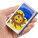 Tarjeta de visita profesional, estuche de billetera de acero inoxidable Titular de la tarjeta de identificación de tarjeta de crédito Sun and Moon