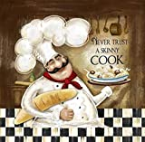 WJY Arte de Pared de Cocinero de Dibujos Animados Impresiones en Lienzo Pinturas de Cocina Modernas en los Carteles de Pared Cuadros Cuadros Decorativos para Cocina Room 40cm x40cm Sin Marco