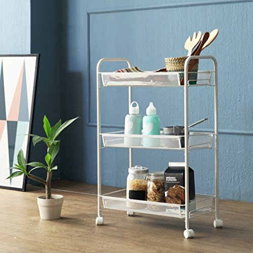 LITINGMEI Shelf Küche Regalboden Badezimmer Schlafzimmer Regal Wohnzimmer Trolley (Farbe : Weiß, größe : 4 Layer Size)