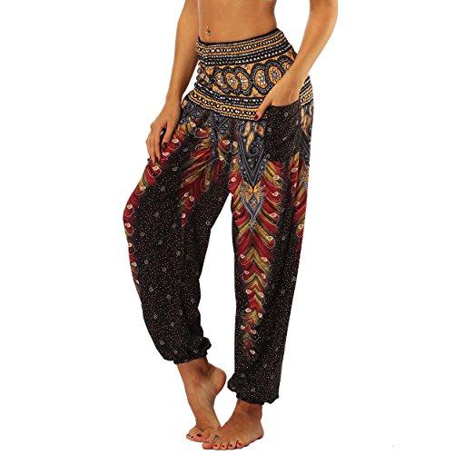 Nuofengkudu Mujer Pantalones Hippies Tailandeses Estampado Verano Cintura Alta Elastica con Bolsillos para Yoga Casual Negro Pavo