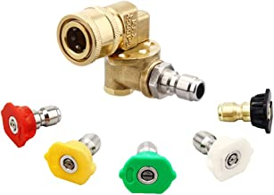 Ferroday Pressure Washer Accessories Kit 4500PSI [6 Pack] 5 Power Washer Nozzle Tips & 1 Quick Connecting Pivoting Coupler 1/4